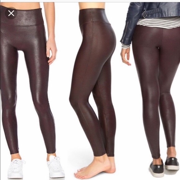 a66a65ba2e17ac SPANX Pants | Nwt Faux Leather Leggings In Wine Size M | Poshmark